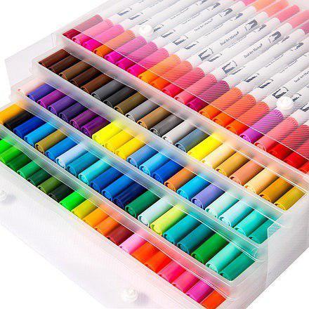 Акварельні маркер пензлика 100 кольорів для малювання FineLiner / Brush Markers Pens, Кисть лайнер для акварелі