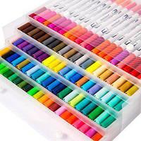 Набор двусторонних маркеров для рисования FineLiner / Brush Markers Pens 100 цветов