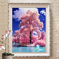 Алмазная мозаика 5D, Сакура,полная выкладка 40*30
