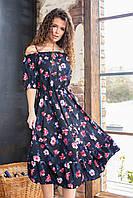 Яркое летнее платье талия на резинке ( мелкий цветок на черном, 18)