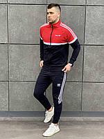 Спортивный костюм в стиле Адидас мужской с лампасом красно-черный