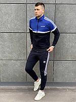 Спортивный костюм в стиле Адидас мужской с лампасом сине-черный