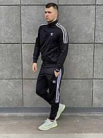 Спортивный костюм в стиле Адидас мужской с лампасом черный