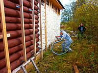 Утепление стен пенополиуританом (150 мм)