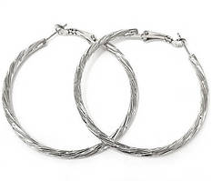 Булатные серьги-кольца рифлёные. Цвет: серебряный.  Диаметр: 6 см. Ширина: 3 мм.