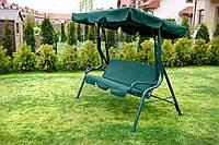Качеля садовая FunFit 3-х местная комфортная с матрасом и регулирующим козырьком зеленая до 240 кг