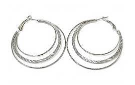 Булатные серьги-кольца рифлёные. Цвет: серебряный.  Диаметр: 4 см. Ширина: 1-2 мм.