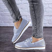 Женские кожаные туфли на низком ходу голубого цвета Niky