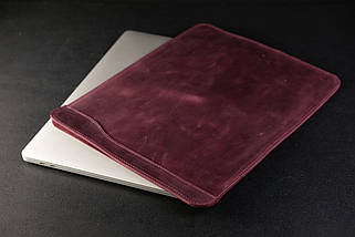 Чохол для MacBook Вінтажна шкіра, колір Бордо, фото 3