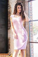 Классическое платье с карманами модель 746, (розовый, коттон-лен)