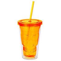 Стакан для напитков с соломинкой Череп, оранжевый (IMP_23_ORANGE)