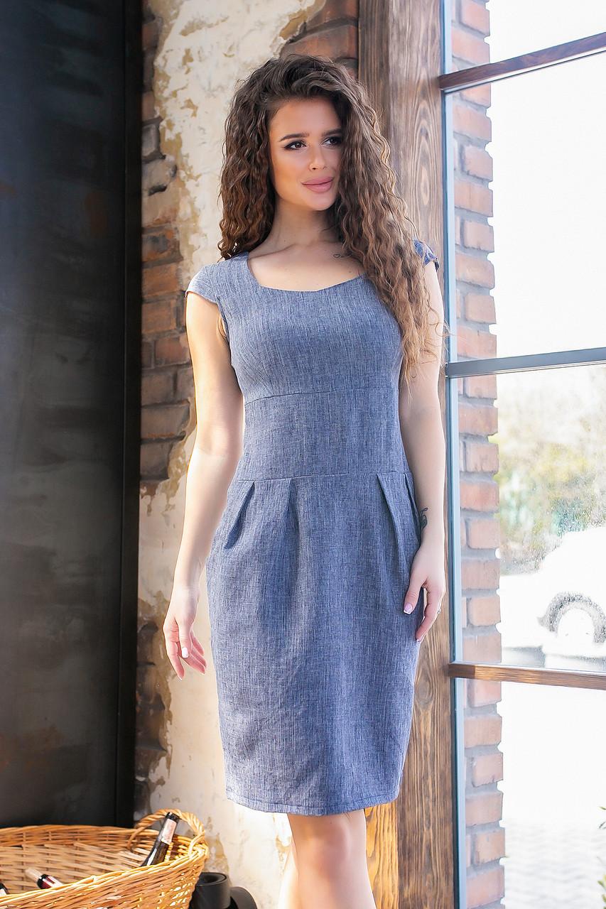 Платье с карманами модель 746, (синий, коттон-лен)