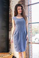Платье с карманами модель 746, (синий, коттон-лен), фото 1