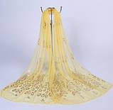 Женский желтый шарф с Павлинами - 170*40см, фото 2