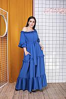Летнее яркое стильное женское платье в пол софт 50-52 54-56 58-60 62-64 электрик пудра красный темно-синий