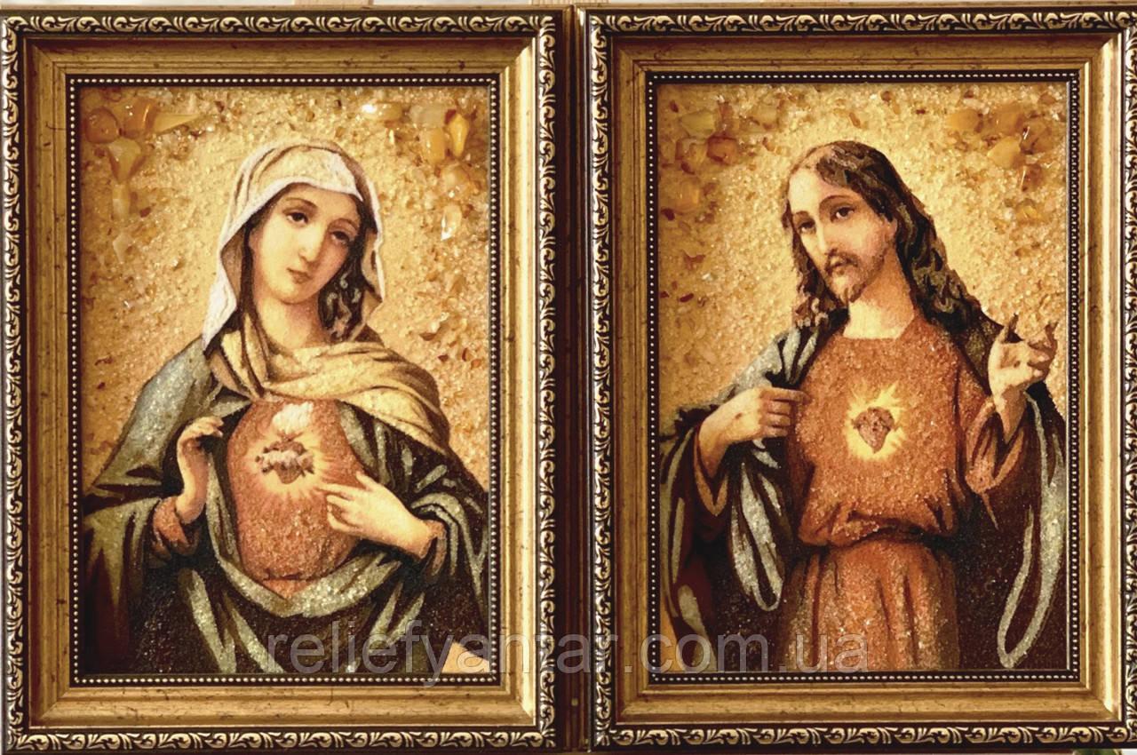 Иконы пара из янтаря , пара ікон з бурштину 20x30 см