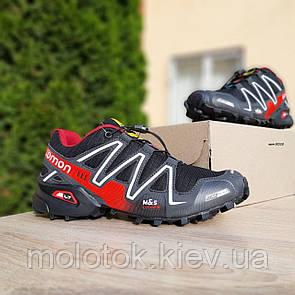 Чоловічі кросівки в стилі SALOMОN SPEEDCROSS 3 чорні з червоним