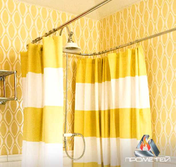 П-подібний тримач з нержавіючого металу недорого для шторки в душ або ванну, Ø 20мм, 25мм, 30мм, 32мм