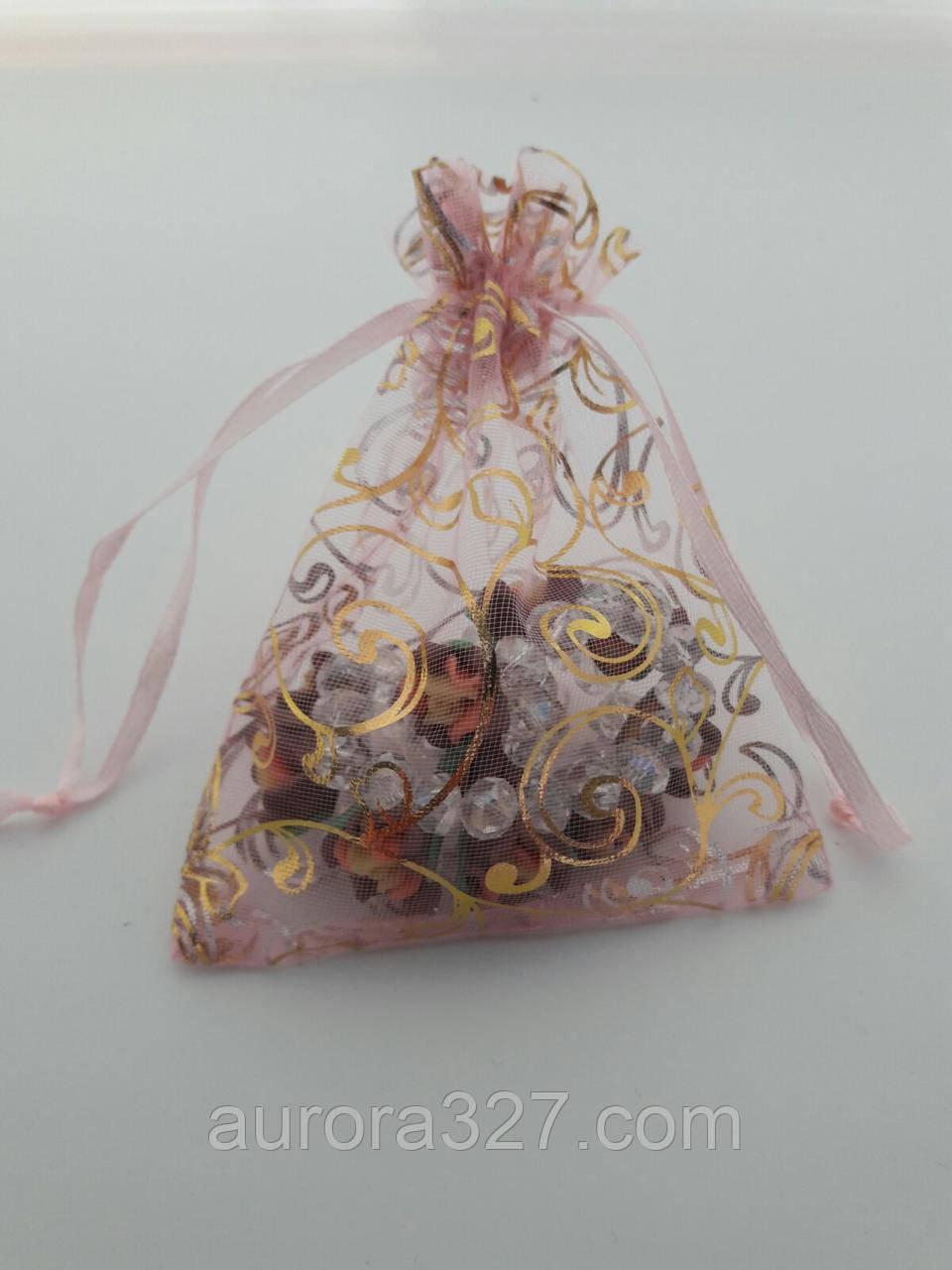 Мешочек для подарков оганза розовая с золотой лозой(9х11 см)