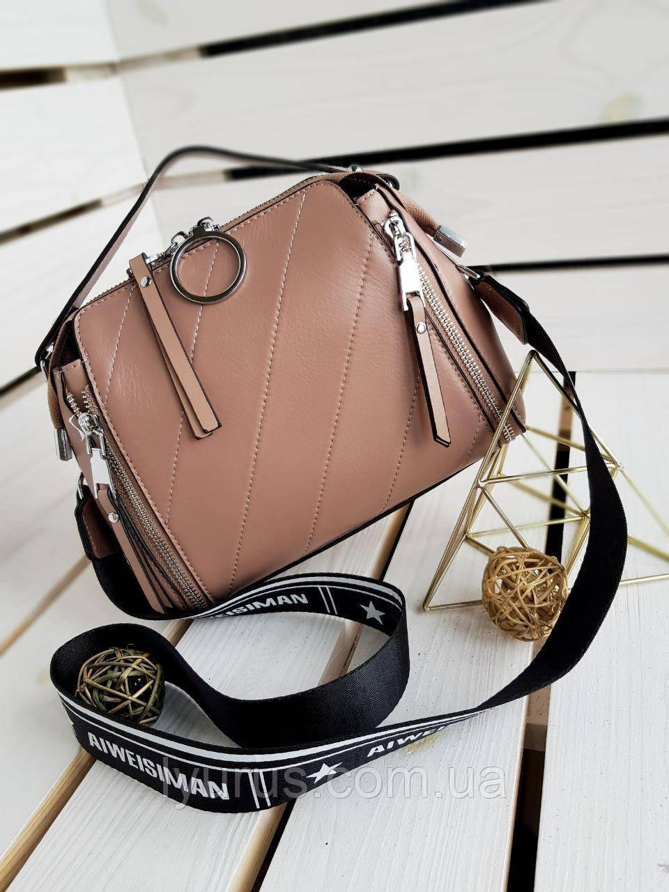 Кожаная женская сумка размером 23х18 см Коричневая (01095)