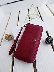 Жіночий шкіряний гаманець розміром 19x9,5x3 см Червоний