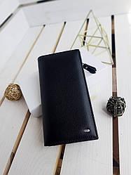 Великий шкіряний гаманець розміром 10х19х3 см Чорний