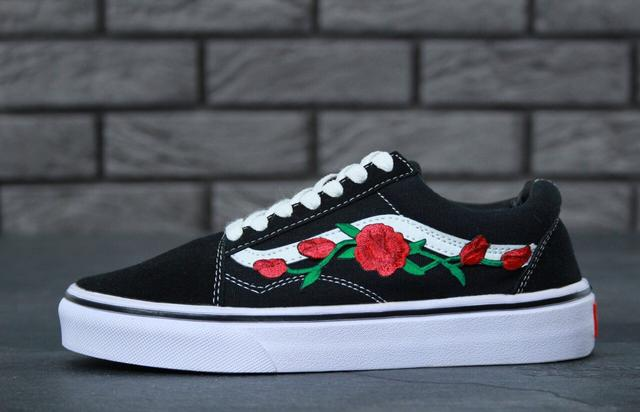 Кеды Vans Old Skool Art Black White Rose
