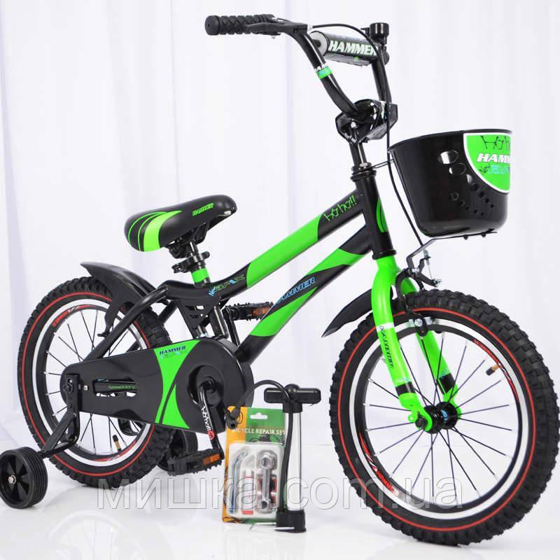 """Велосипед детский 16"""" S500 Черно-зеленый"""