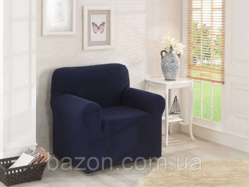 Чехол на кресло Темно-синий Home Collection Evibu Турция