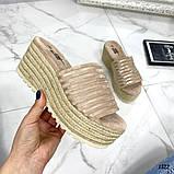 Женские пляжные шлепки эко замш на плетенной подошве ,на платформе,танкетка 7 см, фото 2