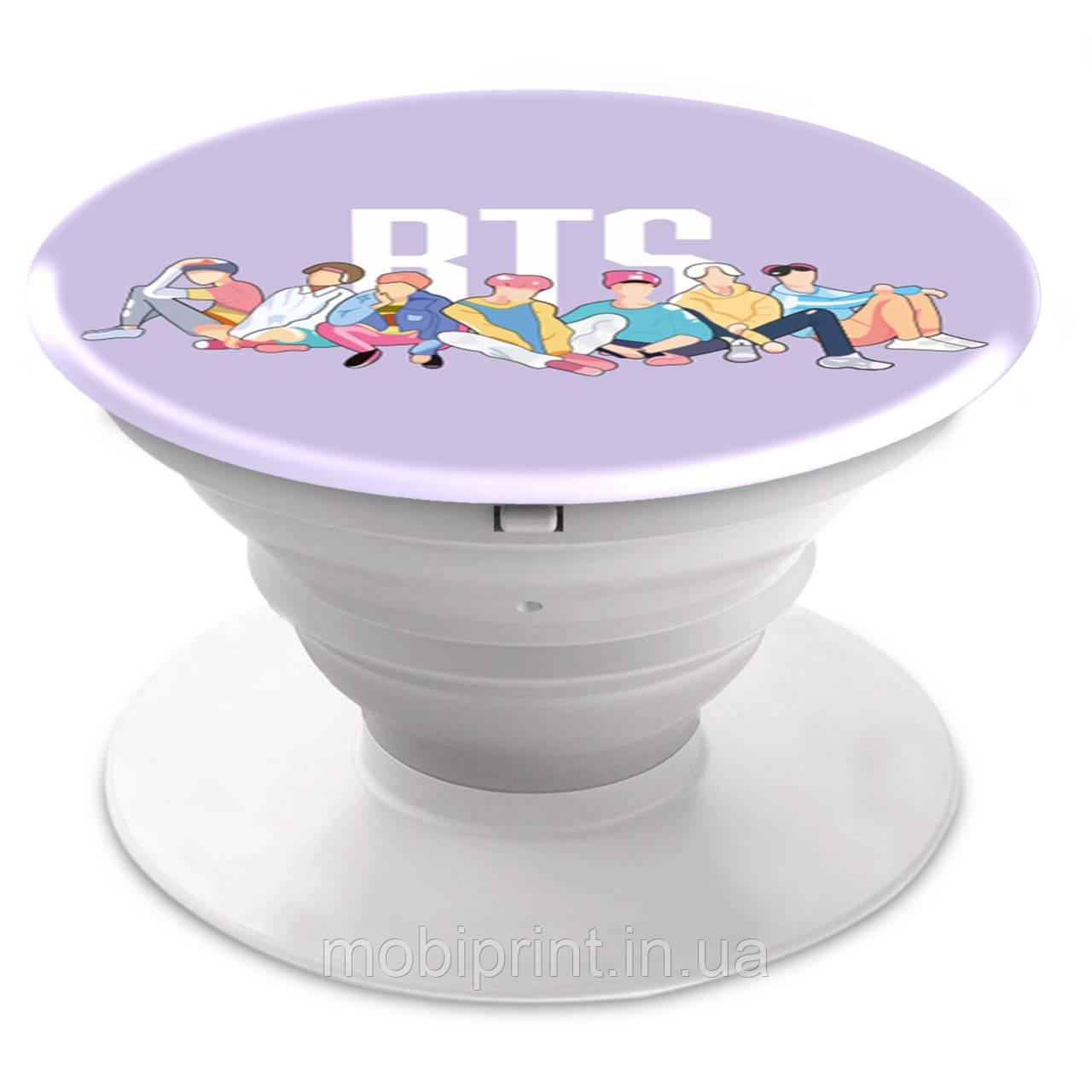 Попсокет (Popsockets) держатель для смартфона группы BTS (БТС) Белый (8754-1061-2)
