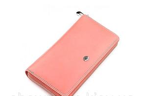 Женский кожаный розовый кошелек (717)