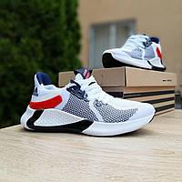 Мужские кроссовки в стиле Adidas белые с красным, фото 1