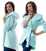 Пальто-накидка кашемировая с капюшоном,  бирюзовая. Арт-0969.