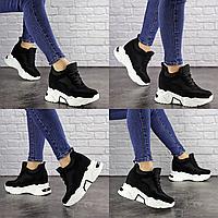Женские черные кроссовки на танкетке Kosmo 1588 эко-замша сетка  Размер 38 - 24 см по стельке, обувь женская