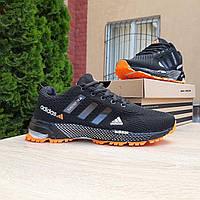 Мужские кроссовки в стиле Adidas Marathon черные с оранжевым, фото 1