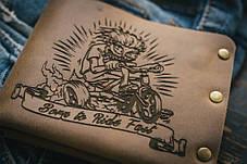 Мужской кожаный кошелек ТатуНаКоже, велосипед, фото 2