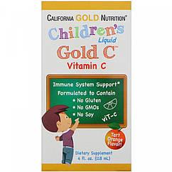 California Gold Nutrition children's Liquid Gold Vitamin C, USP Grade, Natural Orange Flavor, (118 ml.)