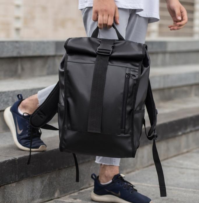 Рюкзак мужской городской кожаный черный, мужской рюкзак спортивный для ноутбука,кожаный рюкзак черный WLKR BAD