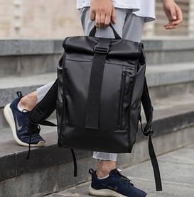 Рюкзак городской мужской роллтоп кожаный в уличном стиле для путешествий WLKR BAD rolltop черный на 25л