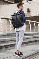 Рюкзак мужской городской кожаный черный, мужской рюкзак спортивный для ноутбука,кожаный рюкзак черный WLKR BAD, фото 2