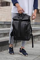 Рюкзак мужской городской кожаный черный, мужской рюкзак спортивный для ноутбука,кожаный рюкзак черный WLKR BAD, фото 3