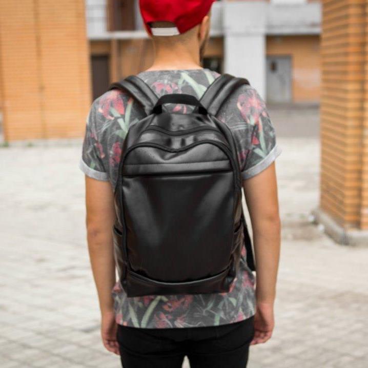 Рюкзак мужской городской кожаный черный, мужской рюкзак спортивный для ноутбука, кожаный рюкзак черный CODER