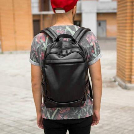 Рюкзак мужской городской кожаный черный, мужской рюкзак спортивный для ноутбука, кожаный рюкзак черный CODER, фото 2