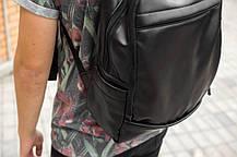Рюкзак мужской городской кожаный черный, мужской рюкзак спортивный для ноутбука, кожаный рюкзак черный CODER, фото 3