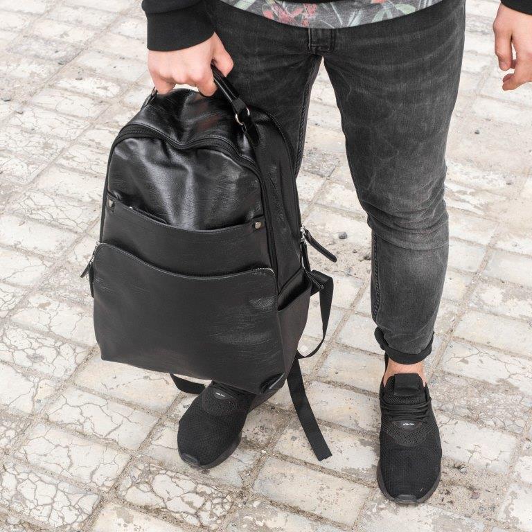 Рюкзак мужской городской кожаный черный, мужской рюкзак спортивный для ноутбука, кожаный рюкзак черный BROM