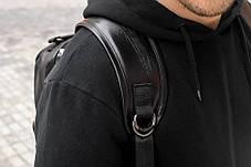 Рюкзак мужской городской кожаный черный, мужской рюкзак спортивный для ноутбука, кожаный рюкзак черный BROM, фото 3
