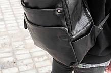 Рюкзак мужской городской кожаный черный, мужской рюкзак спортивный для ноутбука, кожаный рюкзак черный BROM, фото 2