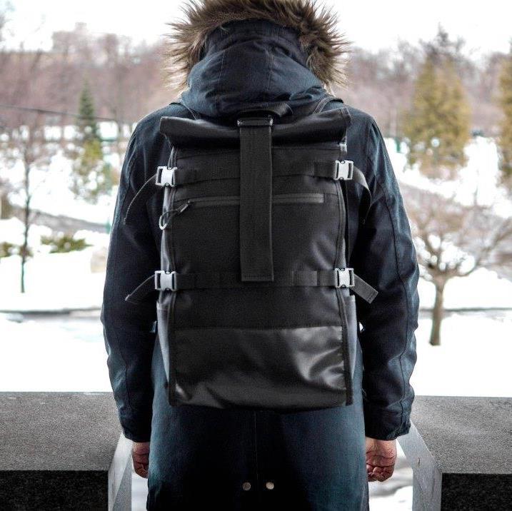 Рюкзак мужской спортивный городской черный, мужской рюкзак городской для ноутбука,рюкзак роллтоп черный EVOLVE