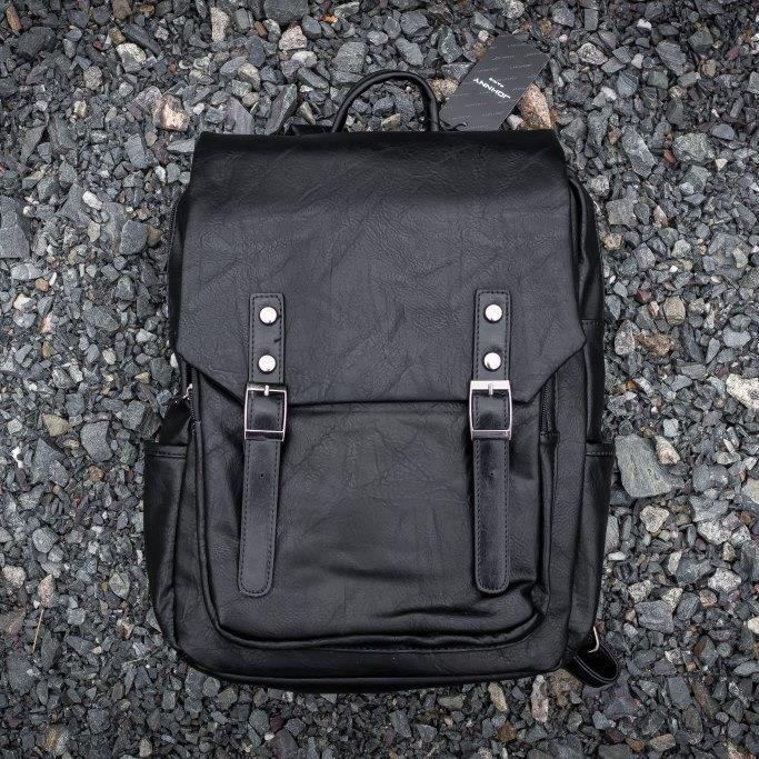 Рюкзак мужской городской кожаный черный, мужской рюкзак спортивный для ноутбука, кожаный рюкзак черный WNDR